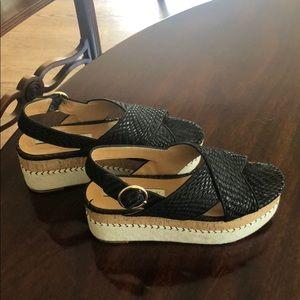 Zara sandals. Size 37. Cork and canvas platform.